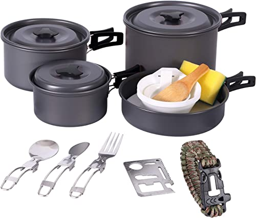 CAMPMAX 4-5 Persons Camping Cookware Set Lightweight, 23 PCS Folding Camping Pots and Pans Set Compact for Backpacking, Anodized Aluminum