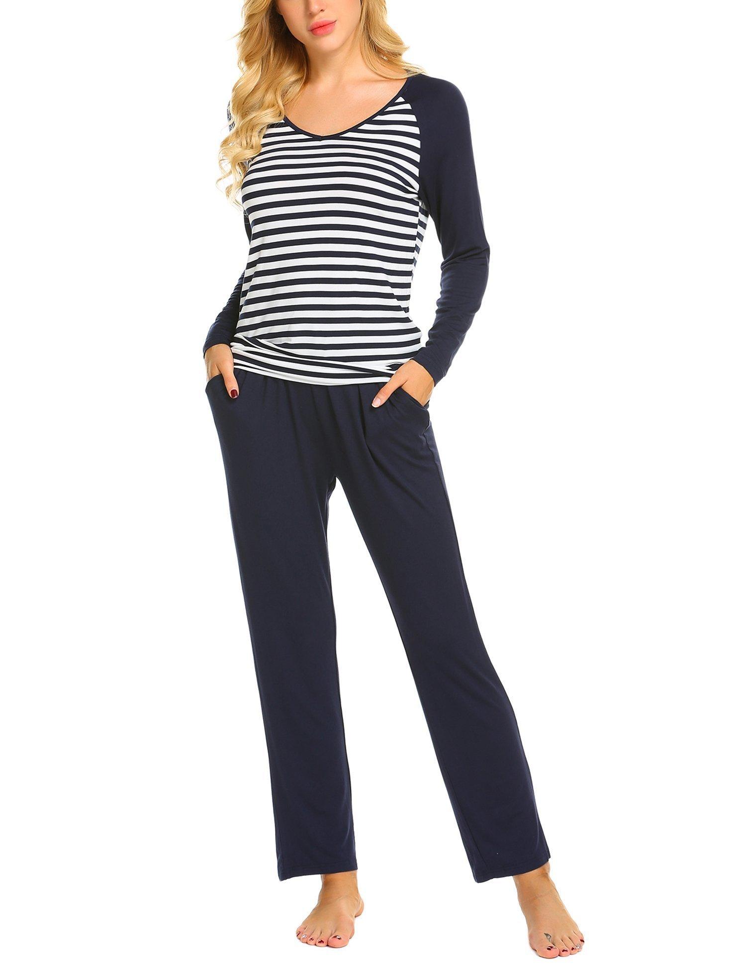 Ekouaer Women's V Neck Sleepwear Long Sleeve Tops with Pants Pajama Set (Navy Blue XXL)