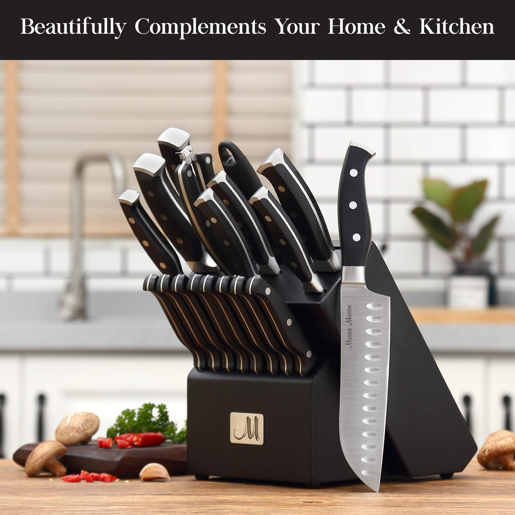 19-Piece Premium Kitchen Knife Set With Wooden Block | Master Maison German Stainless Steel Cutlery With Knife Sharpener & 8 Steak Knives by Master Maison (Image #5)