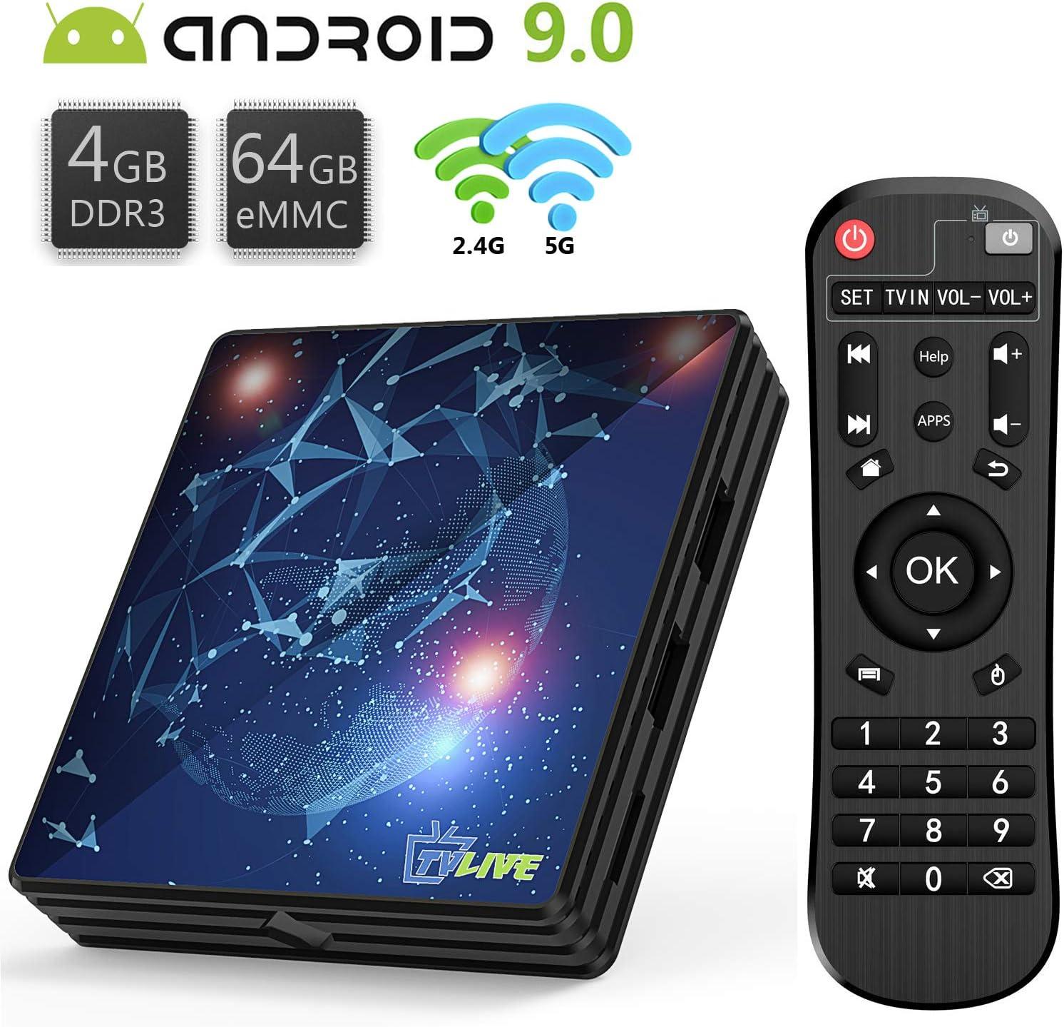 TV Box 9.0, Android TV Box 4 GB RAM 64 GB ROM, Livebox L1 Plus Quad Core 64 bit Smart TV Box, Wi-Fi-Dual 5G/2.4G, BT 4.1, Box TV UHD 4K TV, USB