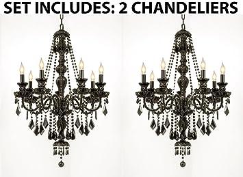 Set of 2 new jet black gothic crystal chandelier lighting h37 x jet black gothic crystal chandelier lighting h37quot aloadofball Gallery