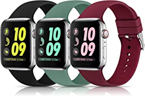 3 Pack Sport Bands Compatible with Apple Watch Band 38mm 40mm, Soft Silicone Replacement Buckle Band Compatible with iWatch Series 6 5 4 3 2 1 Women Men ( Black/Pine Green/Wine Red 38MM/40MM)