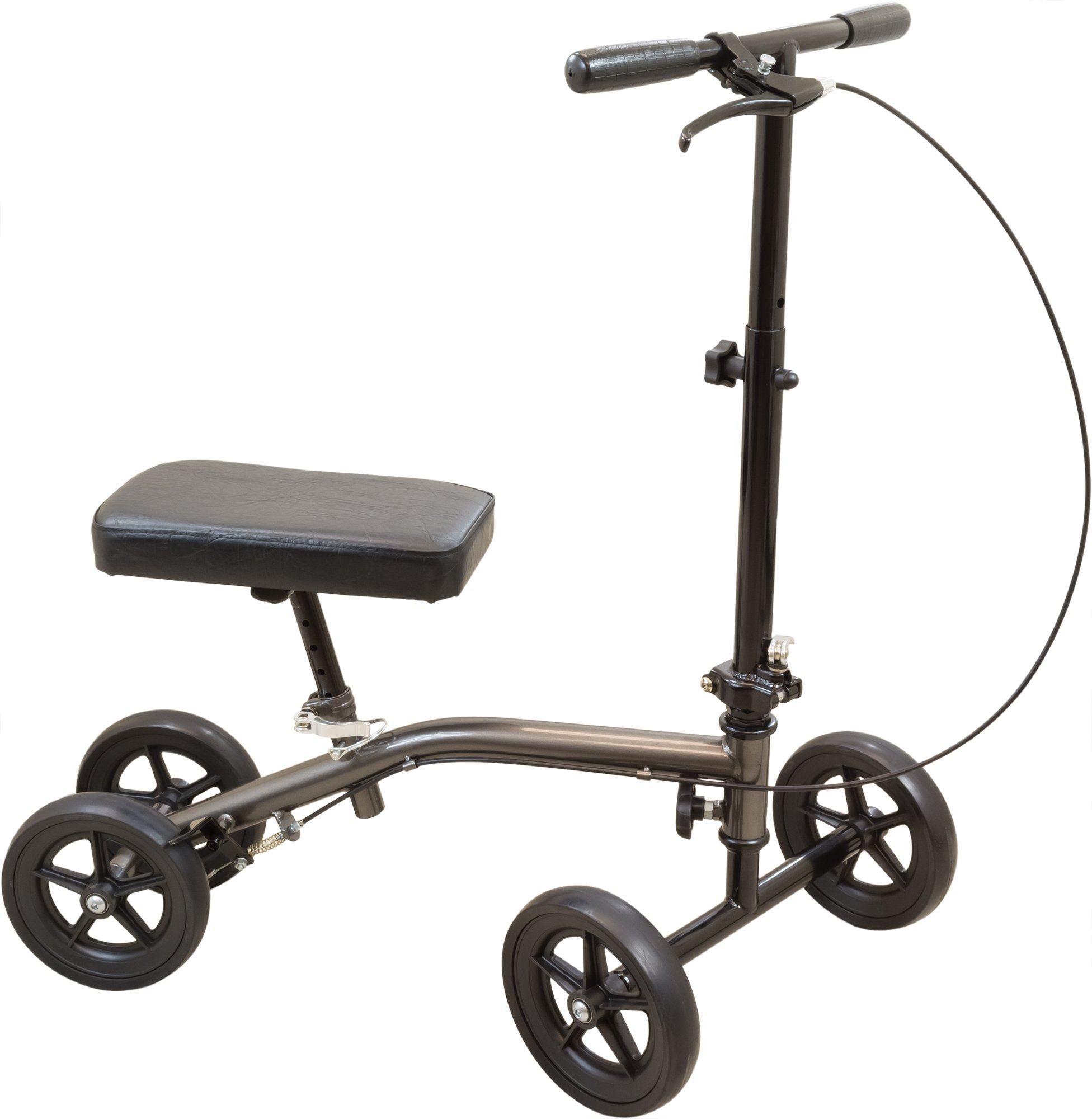 Roscoe Economy Knee Scooter, Sterling Grey, Crutch Alternative for Foot or Ankle Injuries, Adjustable Handlebar and Knee Platform Height