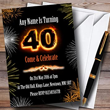 Fire And Fireworks 40Th Birthday Party Personalised Invitations Amazonco Uk Office Products
