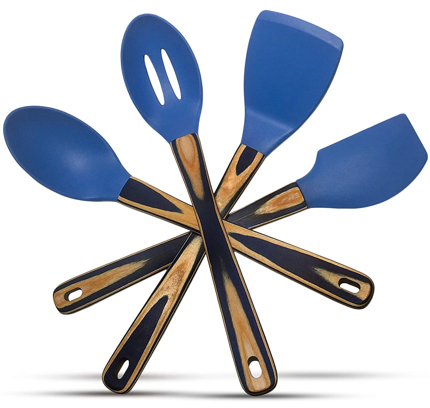 Silicone Spatulas and Cooking Spoons, Kitchen Utensils Gift Box Set of 4 with Pakkawood Handles in Blue Dazzle - Kitchen Tools and Gadgets by Kitchen Charisma