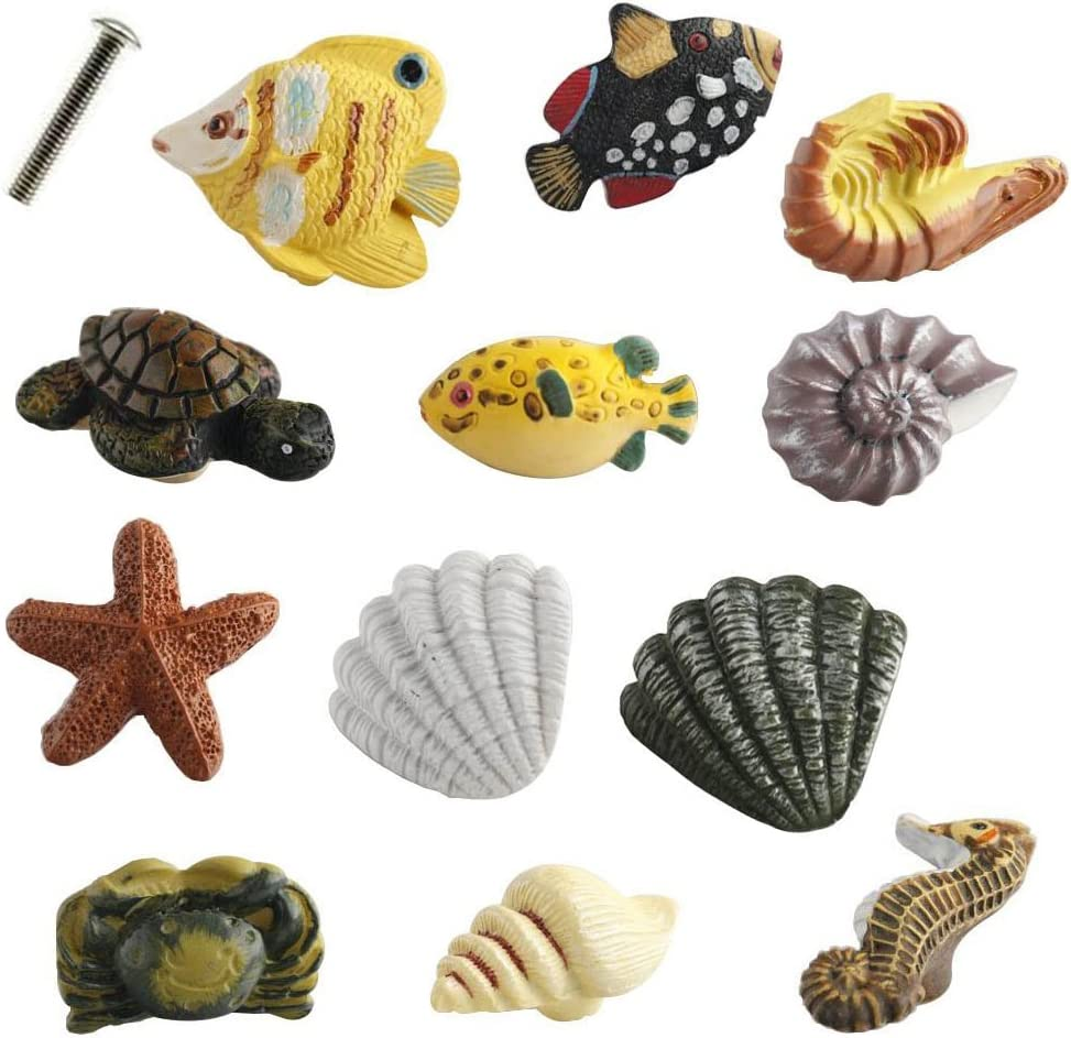 Creation Core Marine Series Rsin Decor Cabinet Handle Knobs for Drawers or Doors Fish Starfish Seahorse Shrimp Turtle Crab Conch Shell Handle Knobs(12PCS+4cm Screw)