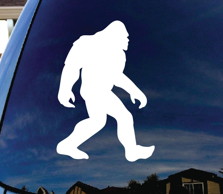 Bigfoot Sasquatch Car Window White Vinyl Decal Sticker 7.25' Tall | Premium Quality Vinyl CMI CMI106