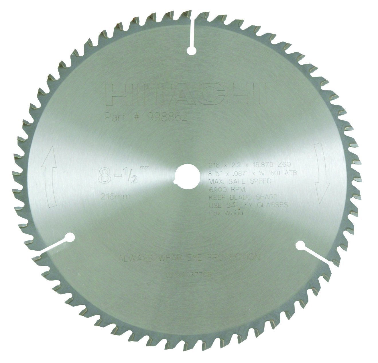 Hitachi 998862 60-Teeth Tungsten Carbide Tipped 8-1/2-Inch ATB 5/8-Inch Arbor Finish Saw Blade by Hitachi