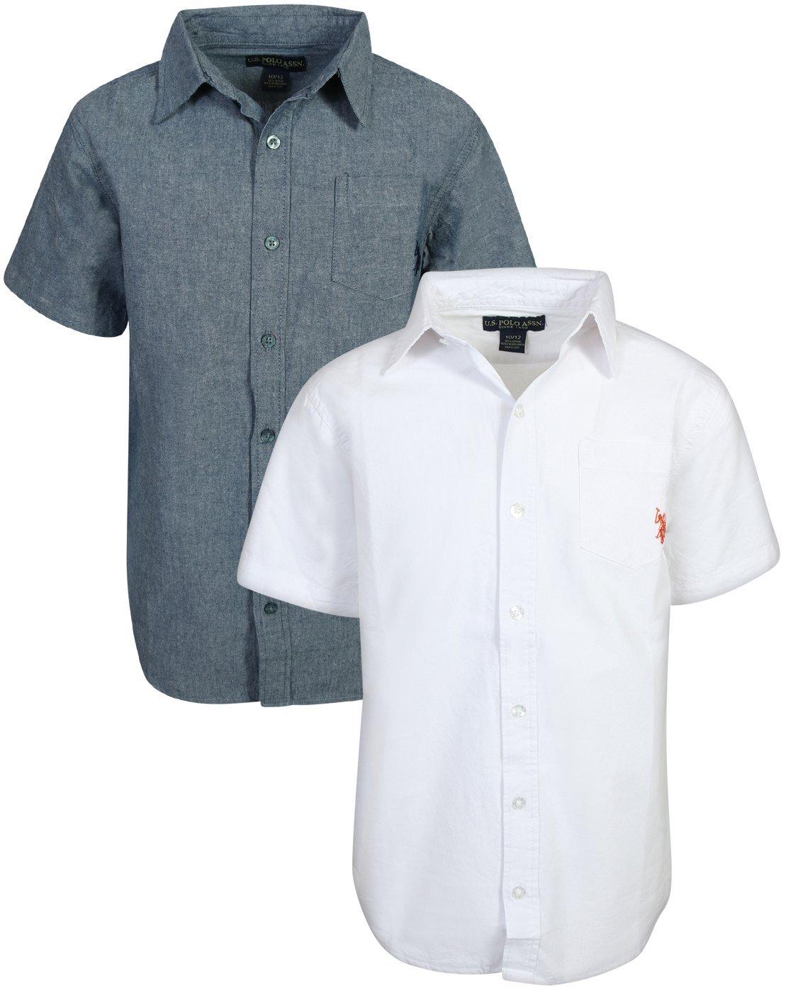 U.S. Polo Assn. Boy's Short Sleeve Woven Shirt (2 Pack) (White/Blue, 18)'