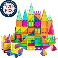 cossy Kids Magnet Toys Magnet Building Tiles, 120 Pcs 3D Magnetic Building Blocks Set, Educational Toys for Kids Children
