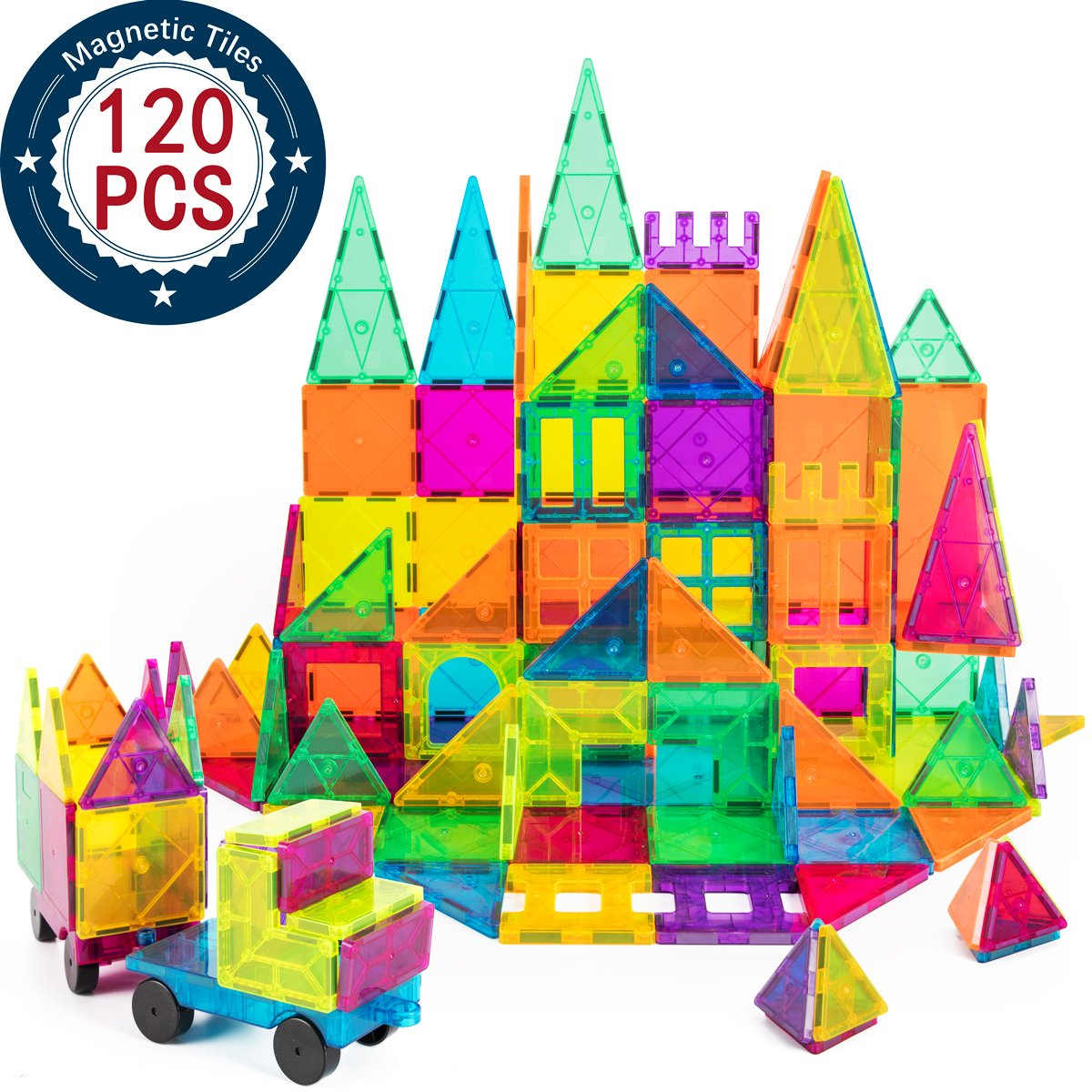 cossy Kids Magnet Toys Magnet Building Tiles, 120 Pcs 3D Magnetic Building Blocks Set, Educational Toys for Kids Children by cossy