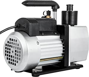 VEVOR Rotary Vane Vacuum Pump 5CFM 1/2HP Two Stage HVAC Auto AC Refrigerant Vacuum Pump Wine Degassing Milking Medical Food Processing Air Conditioning Vacuum Pump (2-Stage, 5CFM)