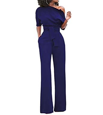 af912748a59c01 LY Damen Elegant Kurzarm Hosenanzug Jumpsuit Einteiler Trägerlos Overall