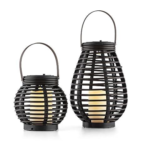 LED Gartenlampe Beleuchtung Terrasse Balkon Solarleuchte Lampion grün 25,5cm