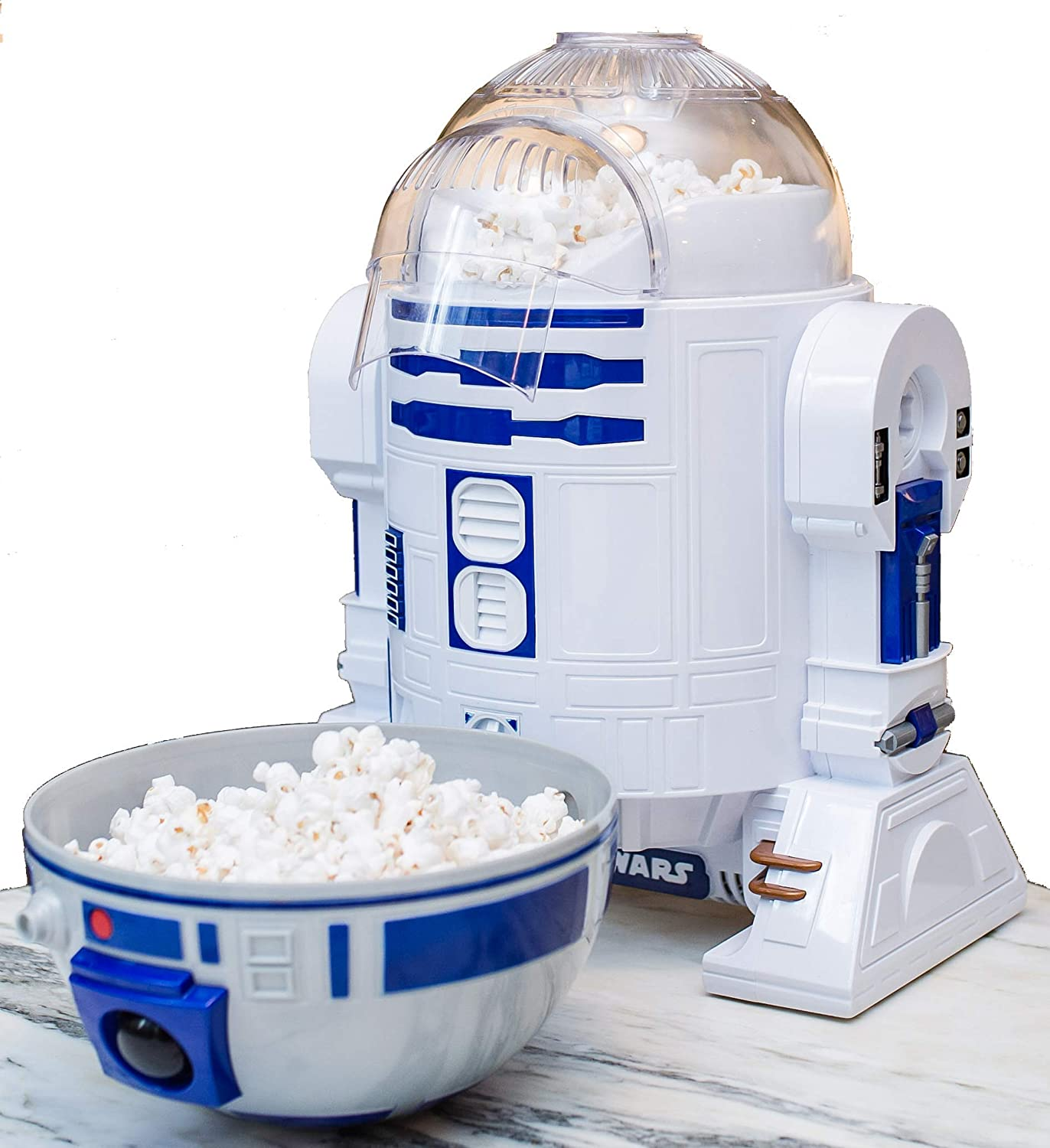 Uncanny Brands Star Wars R2D2 Popcorn Maker- Fully Operational Droid Kitchen Appliance