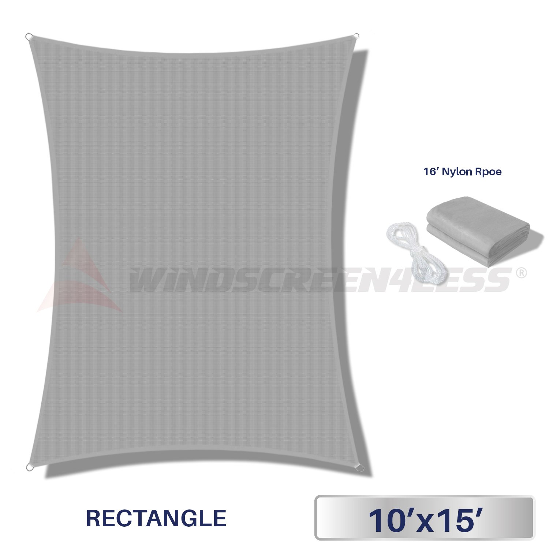 Windscreen4less Terylene Waterproof Sun Shade Sail UV Blocker Rectangle Sunshade Patio Canopy Sail 10' x 15' in Color Light Grey