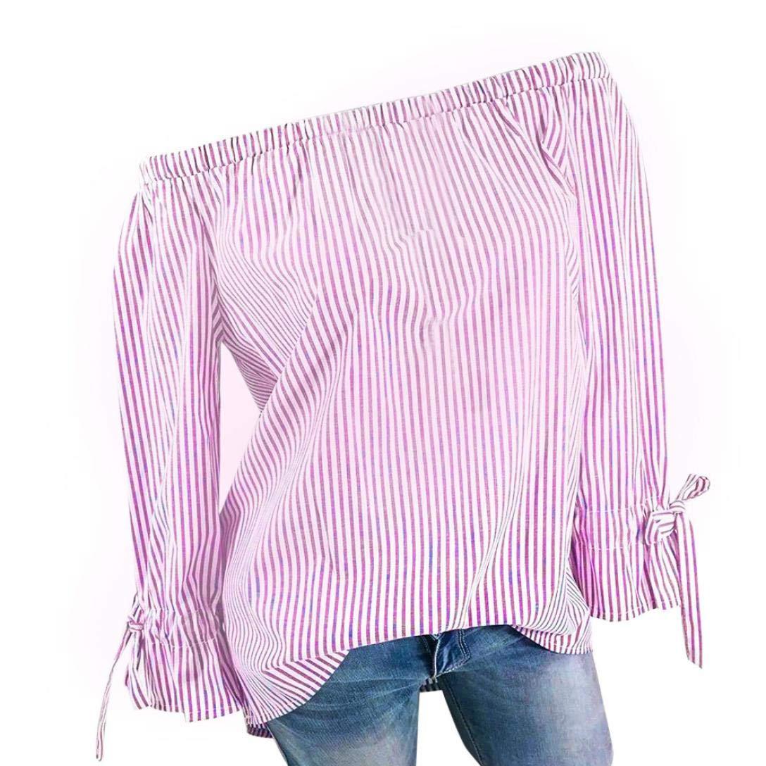 MORCHAN Femmes V-Neck Wave Point Impression Manches Longues Plus la Taille des Hauts en Vrac Blouse