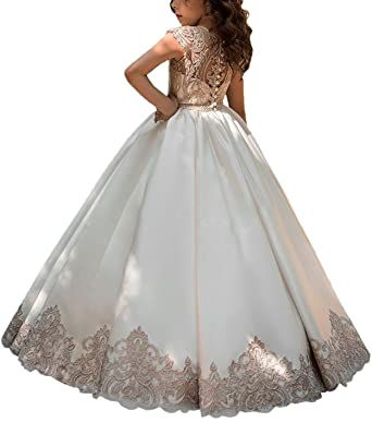e2830df5c Amazon.com: Hengyud Lovely Girls Pageant Dresses First Communion 7-16 Lace  Princess Flower Girls Ball Gowns 122: Clothing