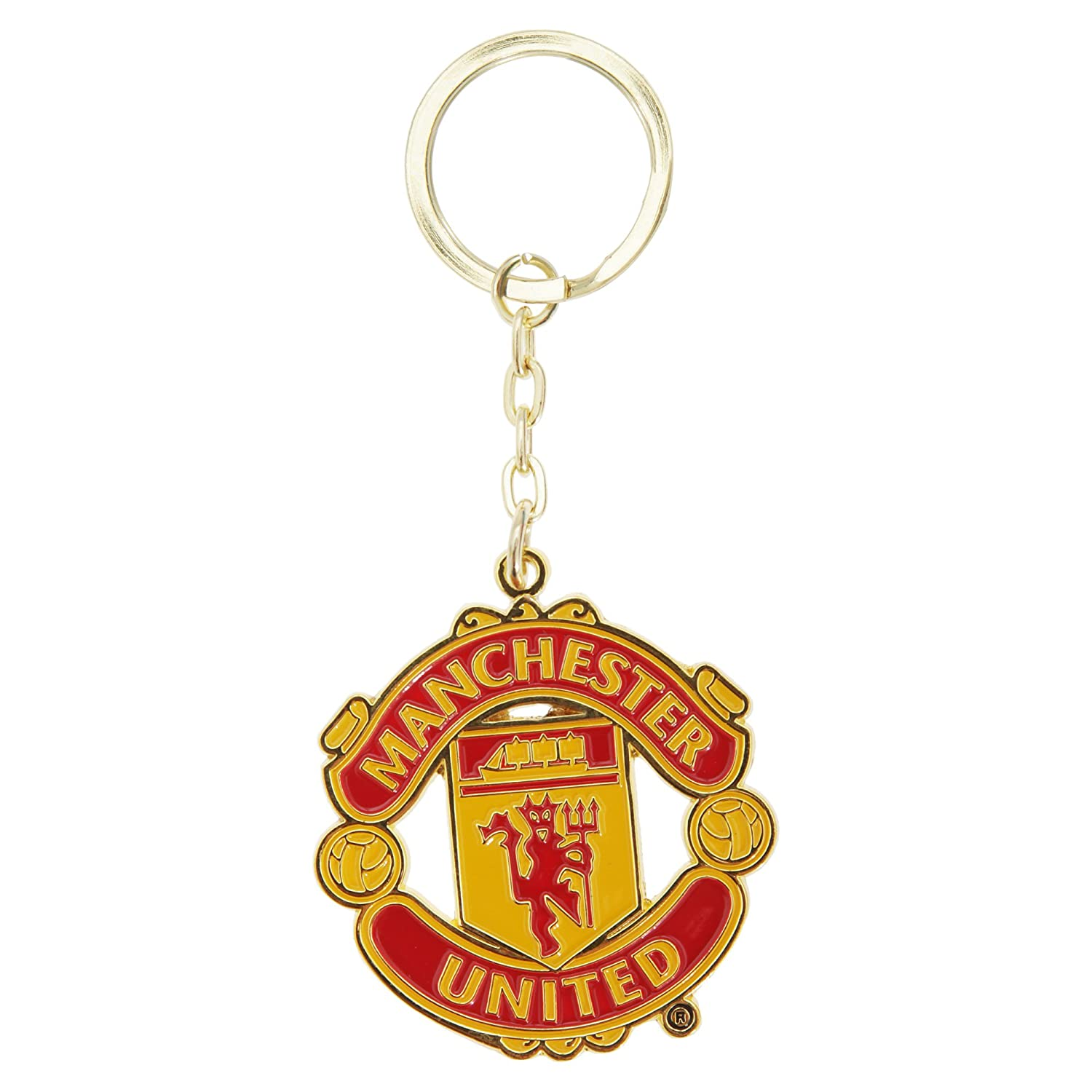 Manchester United FC Official Metal Football Crest Keyring (One Size) (Red) UTSG2179_1
