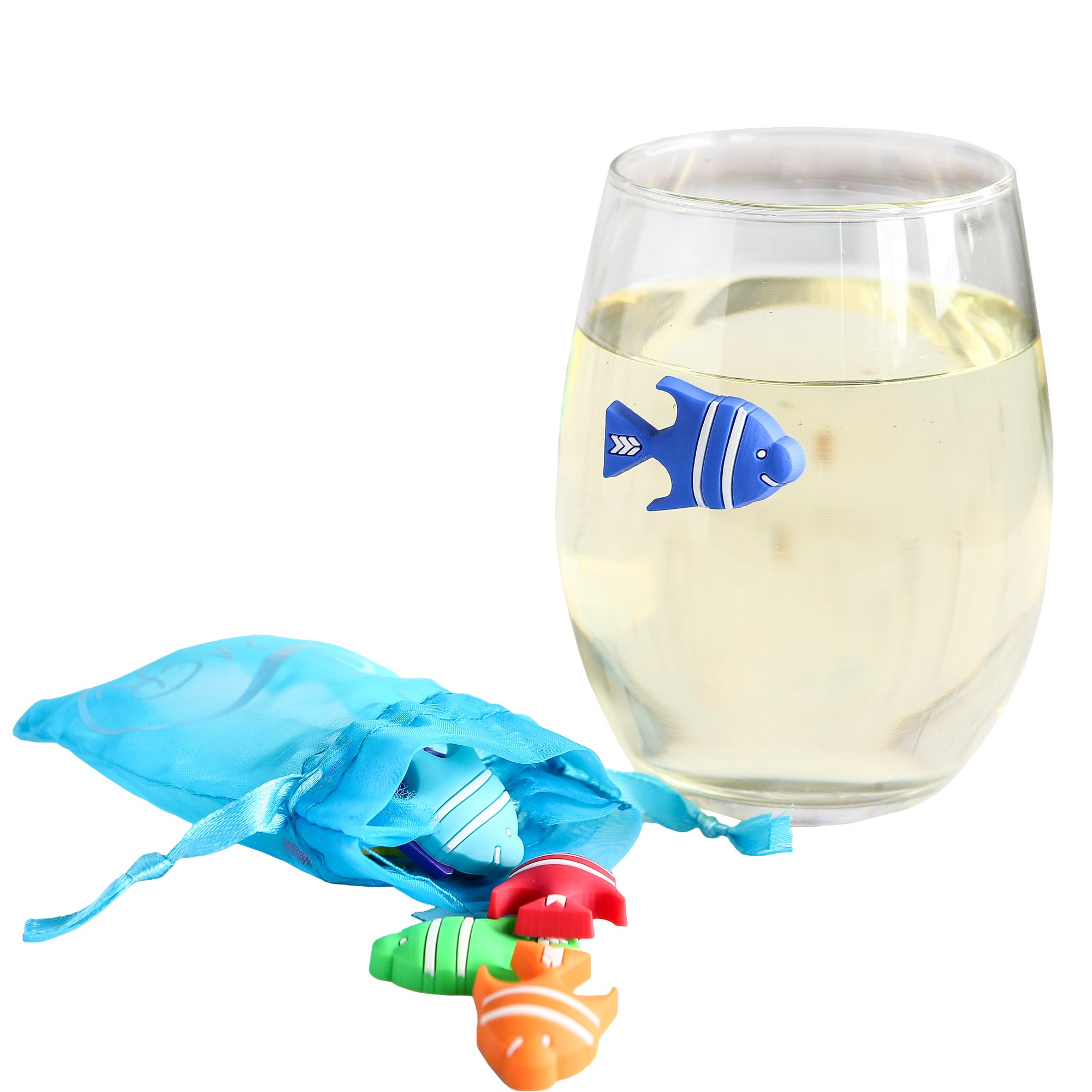 Summer Fish Wine Charms - Magnetic for Stemless or Cocktail Glasses - Set of 8 with Wine Gift Bag
