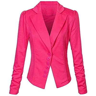 ainr Women Slim Fitted Turn Down Collar Long Sleeved Pure Color Single Breasted Blazer