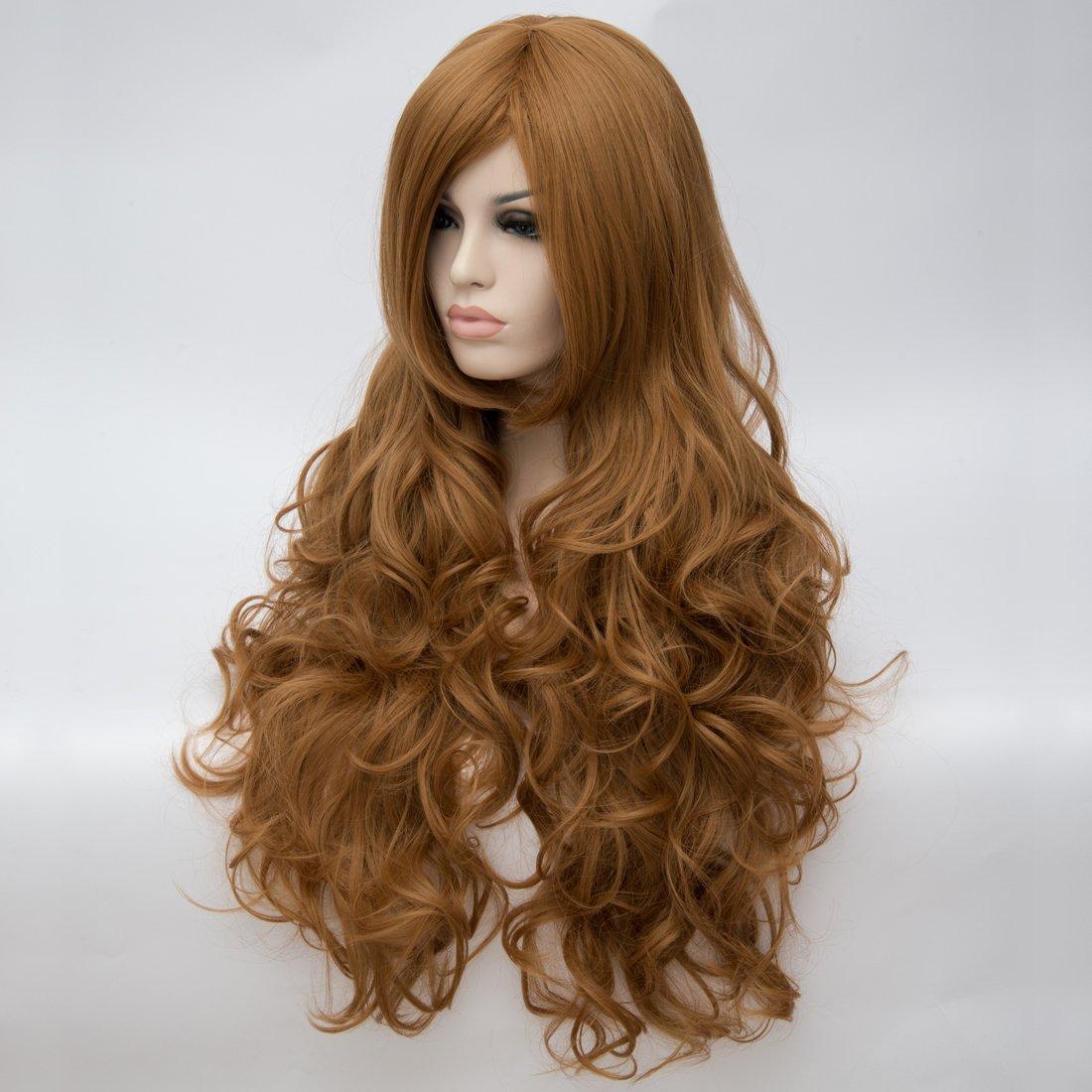 priomix 80 cm largo rizado Brown peluca Daily Basic vacaciones fiesta Carnaval vestido de anime cosplay peluca para mujeres resistente al calor de alta ...