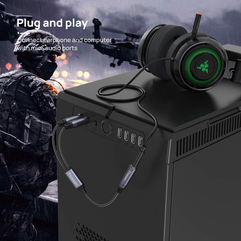 Cable Separador de Audio y Micr/ófono PC o Laptop P S 4 adaptador jack micro y auriculares Hembra de 3,5 mm audio y cable adaptador Doble Macho para Auriculares para PC Gaming Headset X b o x O n e