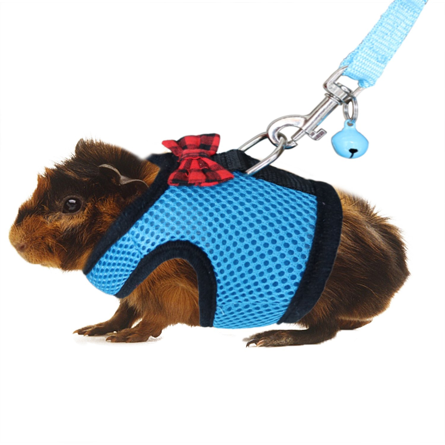 RYPET Guinea Pig Harness and Leash - Soft Mesh Small Pet Harness with Safe Bell, No Pull Comfort Padded Vest for Guinea Pig, Hamster, Rats and Similar Small Animals