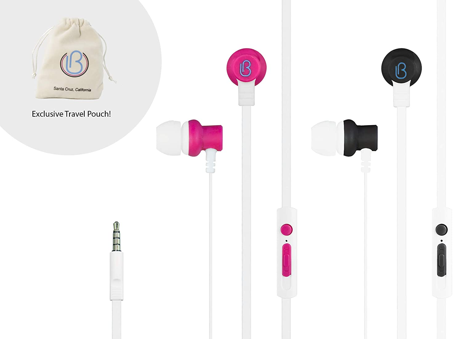New loveBuds – Shared Two Person Earphones Earbuds Headphones, with Separate Individual Volume Controls and Microphones. No splitters Required. Now with an Exclusive Travel Pouch