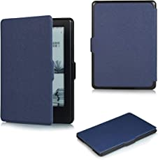 Bull spring Funda Kindle (8ª generación - Modelo de 2016), Cubierta de Cuero de la PU,Funda de Cubierta Ultra Ligera Wake/Sleep (Azul Oscuro)