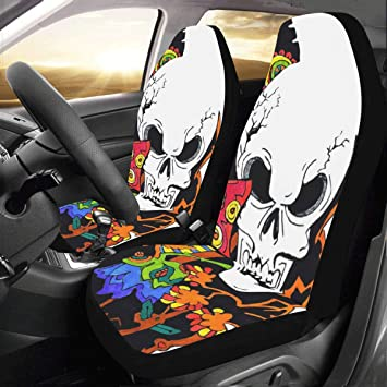 Artsadd Skull And Flower Car Seat Covers Set Of 2 Best Automobile Seats Protector