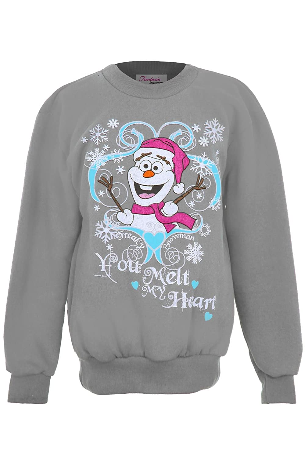 FANTASIA BOUTIQUE ® Girls XMAS Festive Christmas Snowman Olaf Frozen Children's Fleece Lined Jumper /