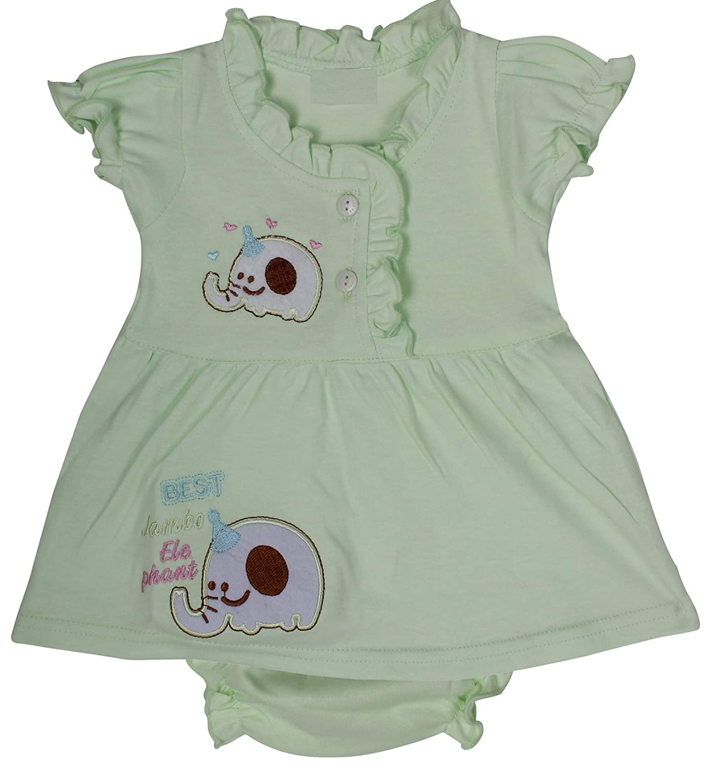 d80b26867c7a Icable High Quality Baby Girl's Cotton Cute Printed Frock with Nappies  (Blue, 3-6 Months): Amazon.in: Baby