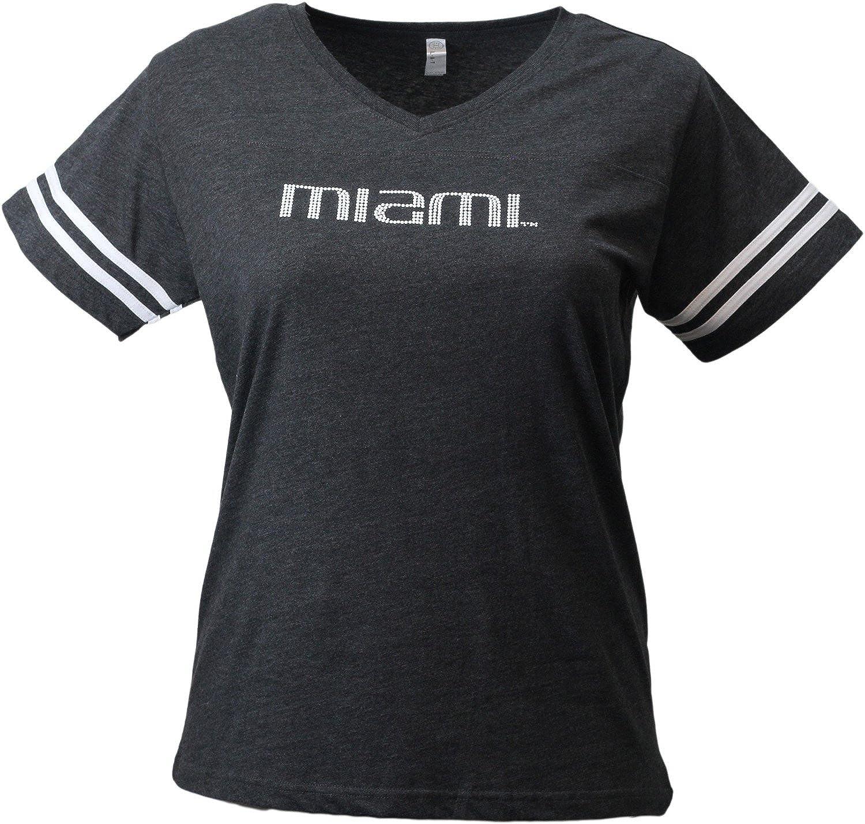 Nitro USA NCAA Miami Hurricanes Womens Super Soft Womens Collegiate Bling V-Neck Tee Black 2X