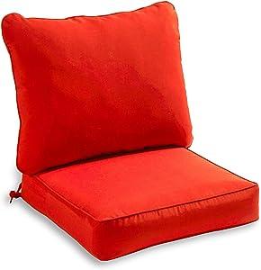 South Pine Porch AM7820-SALSA Solid Salsa Red 2-Piece Outdoor Deep Seat Cushion Set