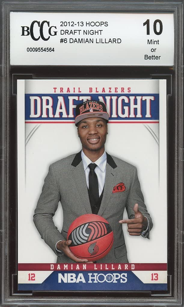 2012-13 hoops draft night #6 DAMIAN LILLARD portland blazers rookie BGS BCCG 10 Graded Card