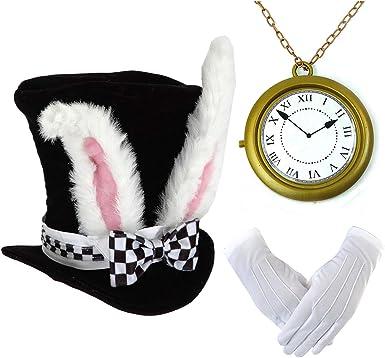 Juego De Disfraz De Conejo Blanco Gorros De Terciopelo Con Orejas De Conejo Reloj De Conejo Blanco De Gran Tamaño Gorro De Terciopelo Con Orejas De Conejo Clothing