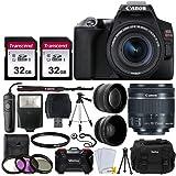 Canon EOS Rebel SL3 Digital SLR Camera (Black) + EF-S 18-55mm f/4-5.6 IS STM Lens + 58mm 2X Professional Telephoto & 58mm Wid