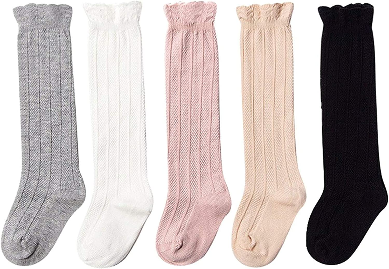 Kfnire 5 pares calcetines largos para Bebé Niños Niñas, niños rodilla calcetines