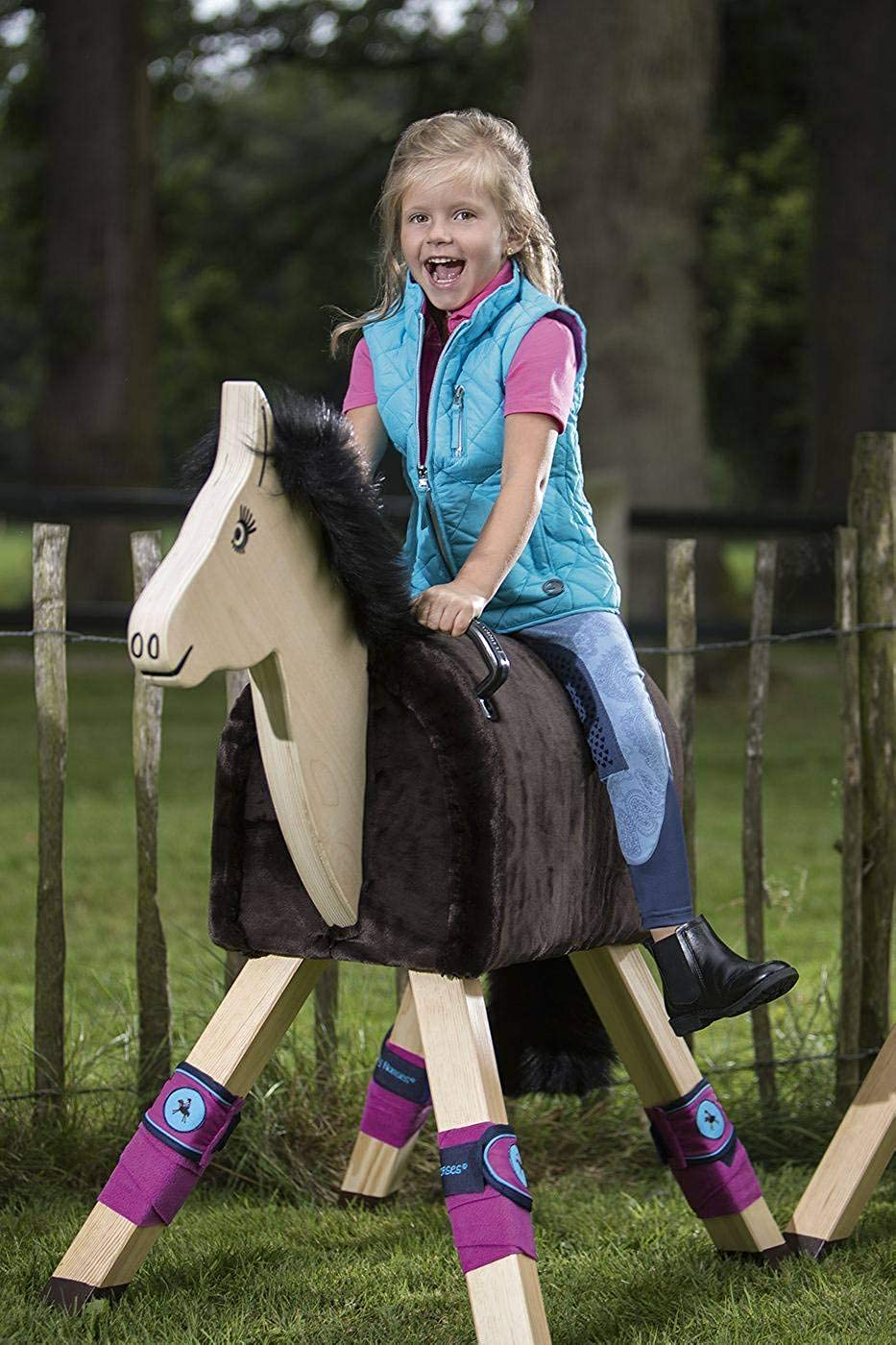 HKM SPORTS EQUIPMENT Little Sister Reithose Princess Denim 110 Alos Kniebesatz Jeansblau