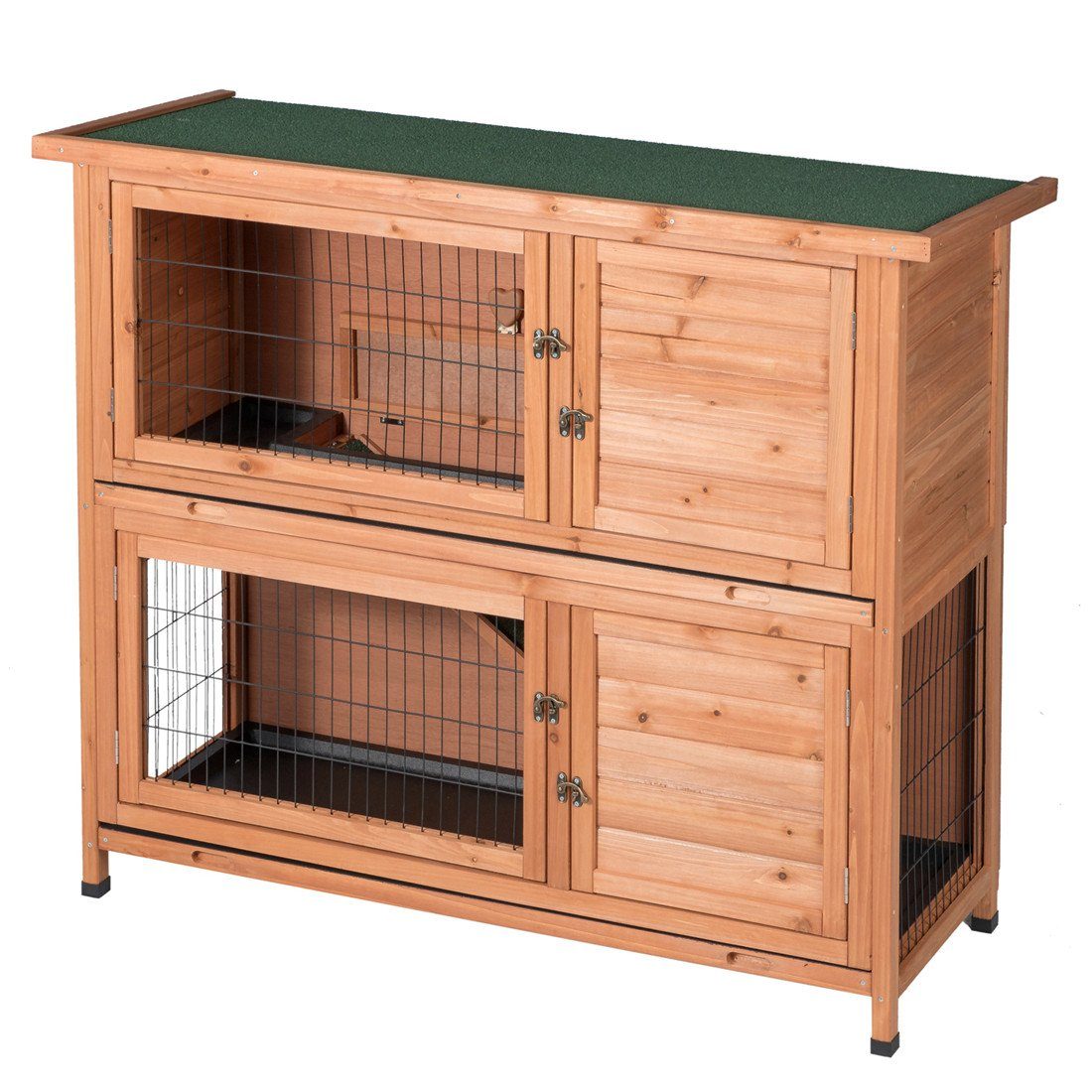 GOOD LIFE Two Floors Wooden Outdoor Indoor Bunny Hutch Rabbit Cage Guinea Pig Coop PET House for Small Animals Nature Color PET383