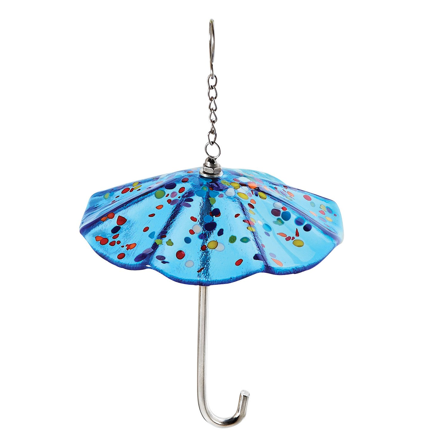 Glass Eye Studio Art Glass Umbrella Ornament - Blue Parasol with Mount Saint Helen's Glass Confetti Accents