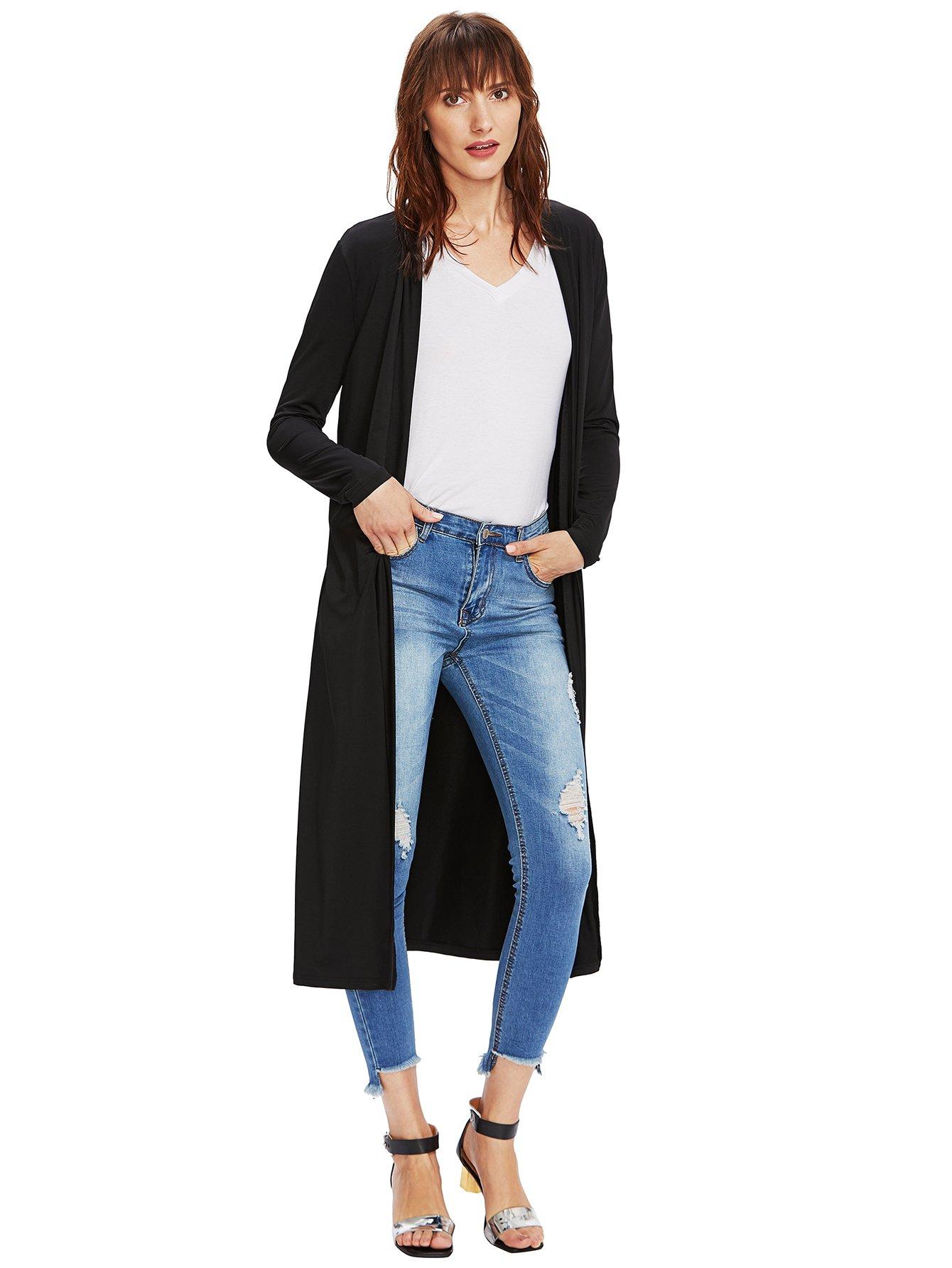 Verdusa Women's Long Sleeve Open Front Long Maxi Cardigan Longline Duster Coat Black M by Verdusa (Image #7)