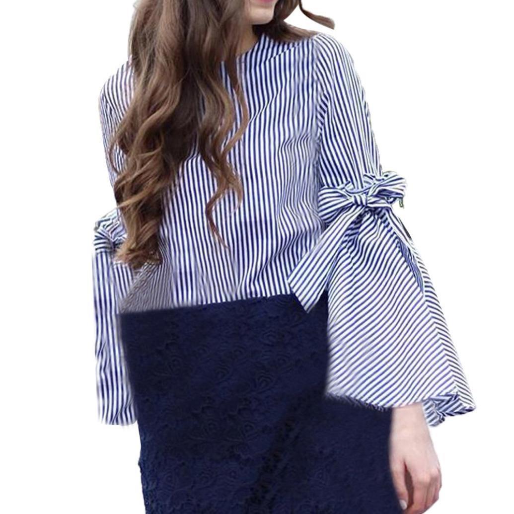 Spbamboo Women Fashion O-Neck Long Sleeves Stripe Flare Sleeve Tops Loose Blouse