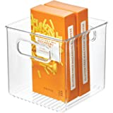 """iDesign Plastic Fridge and Freezer Storage Organizer Cube Bin With Handles, Clear Container for Food, Drinks, Produce Organization, BPA-Free, 6"""" x 6"""" x 6"""", Clear"""