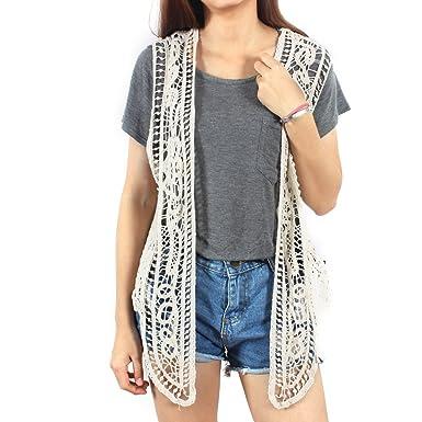 eb10ce6b39 Jastie Pirate Curiosity Open Stitch Cardigan Boho Hippie Crochet Vest  (Beige)