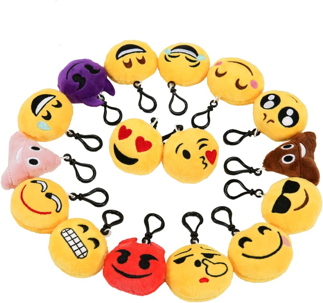 cl/és Caca Emoji Marrant Peluche Porte Clef Emoji D/écorations Accessoire Cadeau Parfait pour Enfants anni party f/êtes de No/ël et dHallow Zindoo Porte cl/é emoji Lot de16 Pcs mignon Mini Emoji Porte
