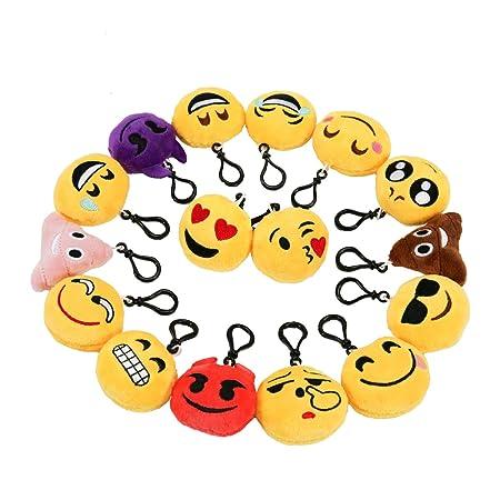 Zindoo 16 Emoji Schlusselanhanger Plusch Tasche Anhanger 5cm