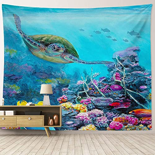 HIYOO Home Nature Art Wall Hanging Fabric Tapestry, Ocean Sea Underwater World Seabed Coral Reef Tapestry, Decor For Dorm Room, Bedroom, Living Room, Background – Free Turtle 90 W x 71 L