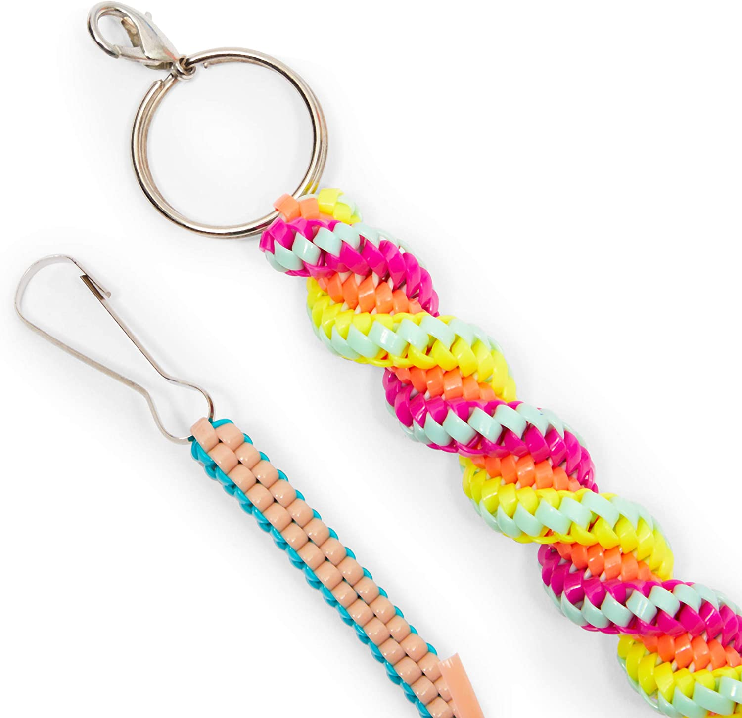 40 Yards, 100 Pieces Plastic Lacing Cord Kit 30 Key Chain Rings 30 Clasps 30 Hooks 10 Colors